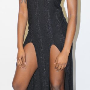 Clearance: Slit Bit Black Choker Dress